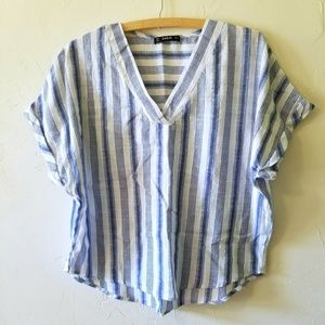 SALE! SHEIN Blue & White Oversized Striped Blouse